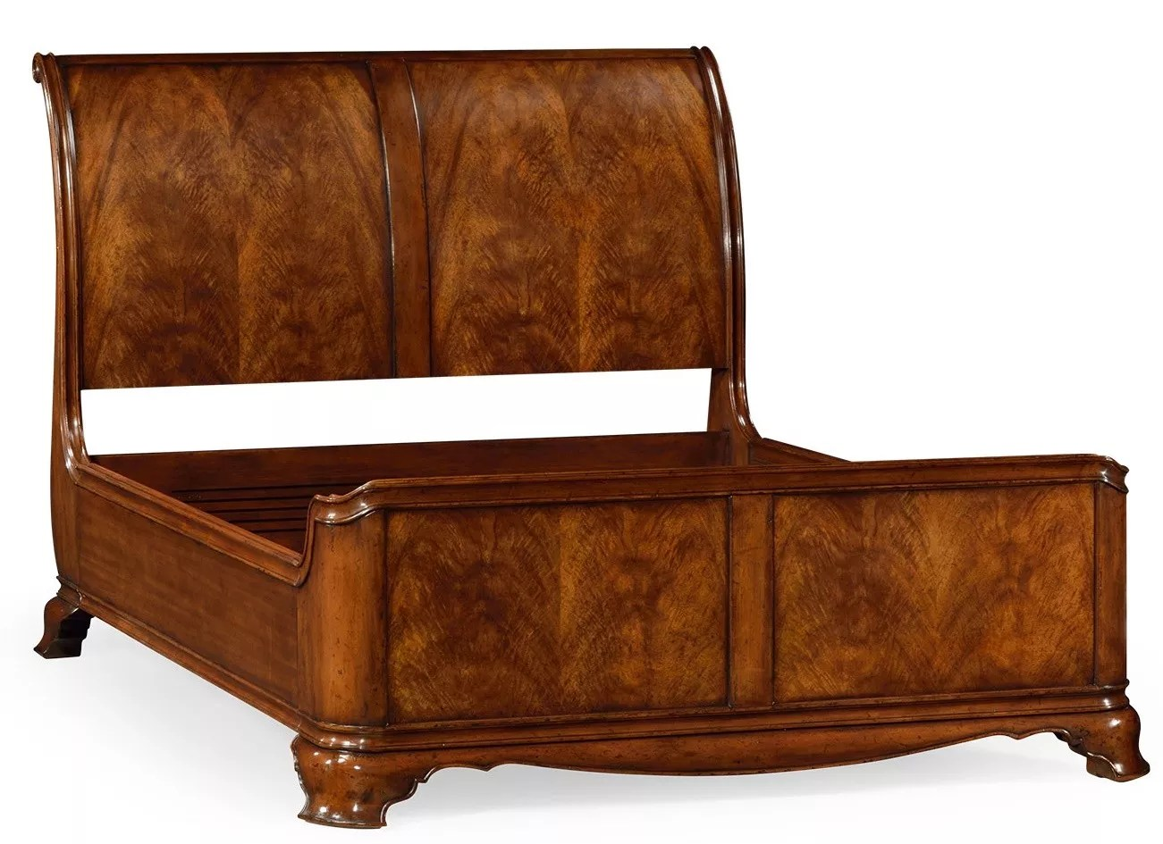 King Size Walnut Sleigh Bed