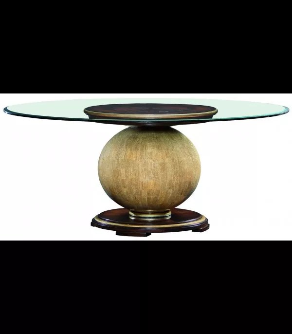dining table with round glass top and wooden spherical base