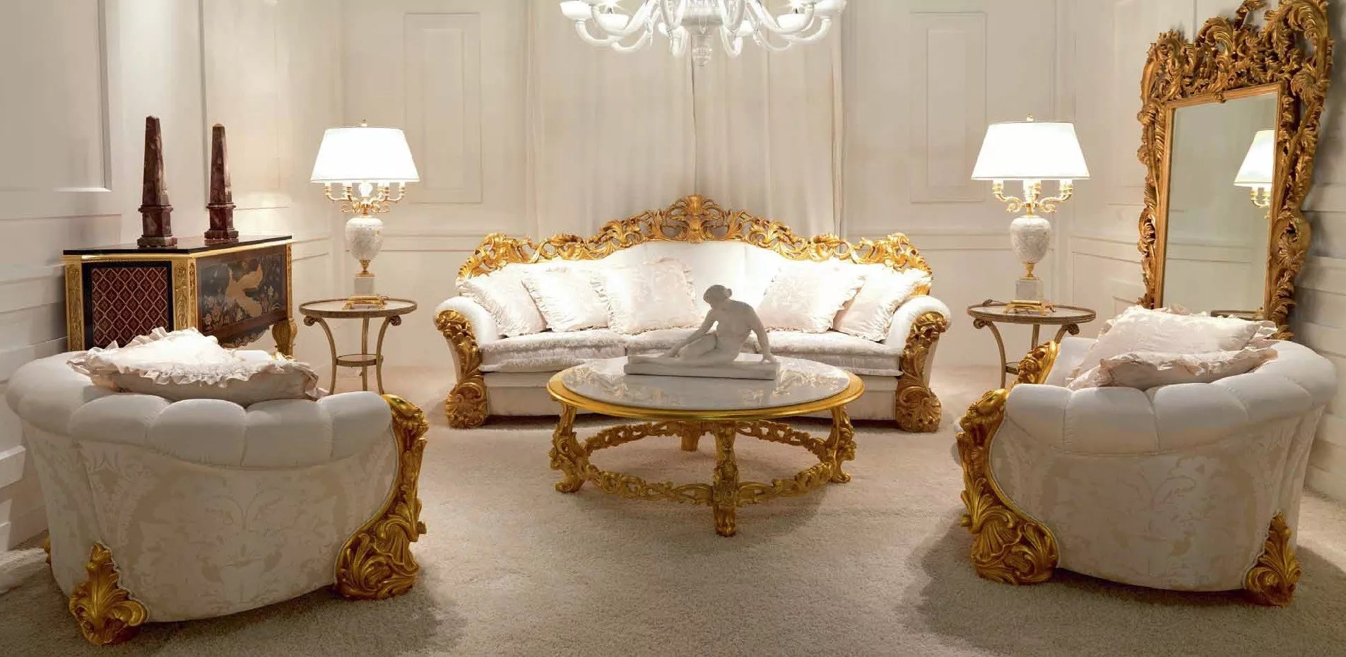 High End Golden and Ruffled Angelic Living Room Furniture Set