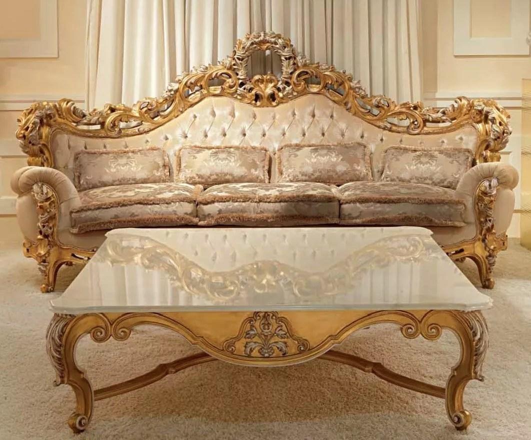Elegant And Royal Golden Plush Living Room Furniture Set