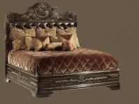 1 High end master bedroom set carvings and tufted leather ...