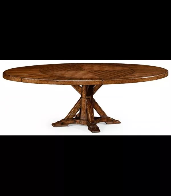 heavy distressed parquet round to oval dining table