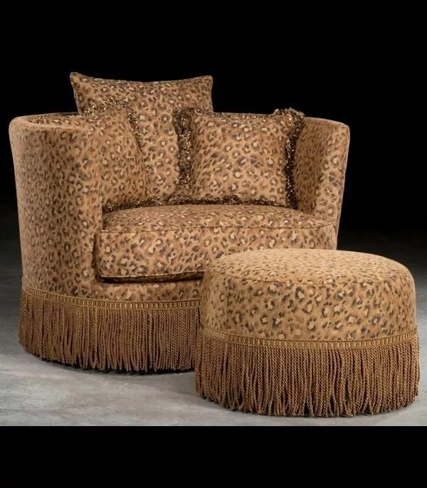 leopard print swivel barrel chair with ottoman