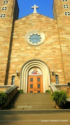 The steps and entrance to Holy Trinity Ukrainian Catholic Church.