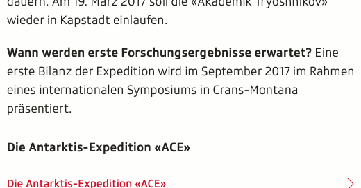 Screenshot Ausschnitt Artikel Antarktisexpedition