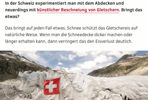 Screenshot Ausschnitt Artikel Gletscher