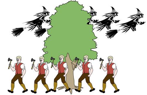 De heks vliegt achter de boom langs, de houthakker loopt voor de boom langs.
