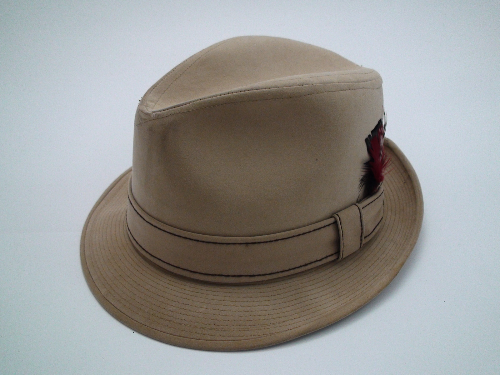 0b9b3e8e7ef76 Resistol Self Conforming Tan Suede Trilby Fedora Hat Size 7 1 4