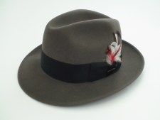 "Stetson Royal De Luxe ""BOGART"" Caribou Gray Fur Felt Fedora Hat"
