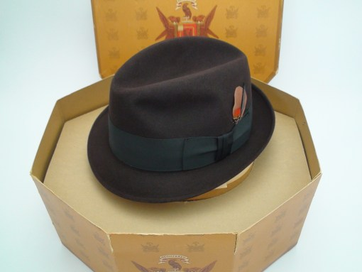 Knox New York Custom Edge Charcoal Brown Fur Felt Fedora Hat