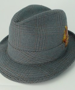 Biltmore Hats Jay Bird Plaid Canvas Cotton Blend Fedora Trilby Hat