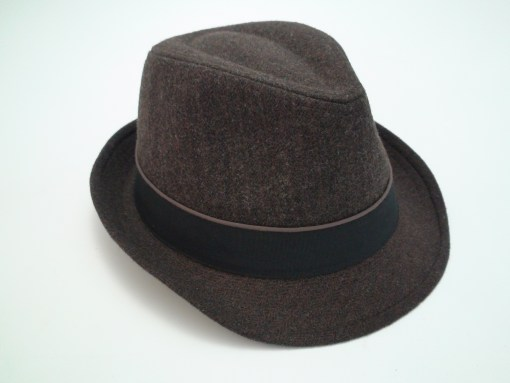 Stetson Herringbone Fedora Brown Wool Blend Trilby Hat