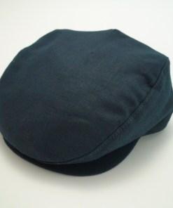 Capas Ivy 100% Linen Navy Blue Golf Newsboy Flat Cap