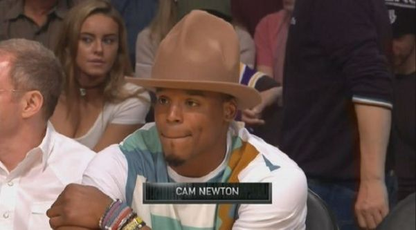 cd421abafd366 Cam Newton s Pharrell-Style Hat Made Quite An Impression At The Lakers-Cavs  Game