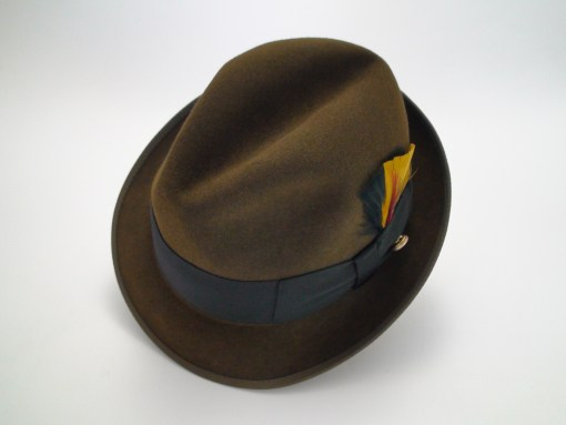 Adam Hats Premier Quality Brown Fur Felt Fedora Hat