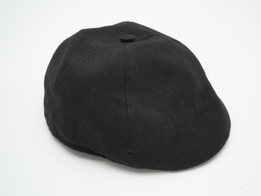 Christys' 8 Piece Baker Boy Black 100% Linen Flat Cap