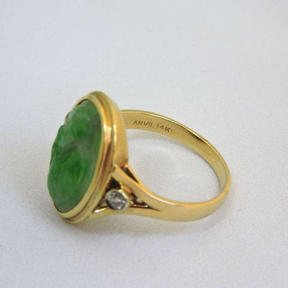 Engraved Green Jade Diamond  14 kt Gold Ring  Bernardis