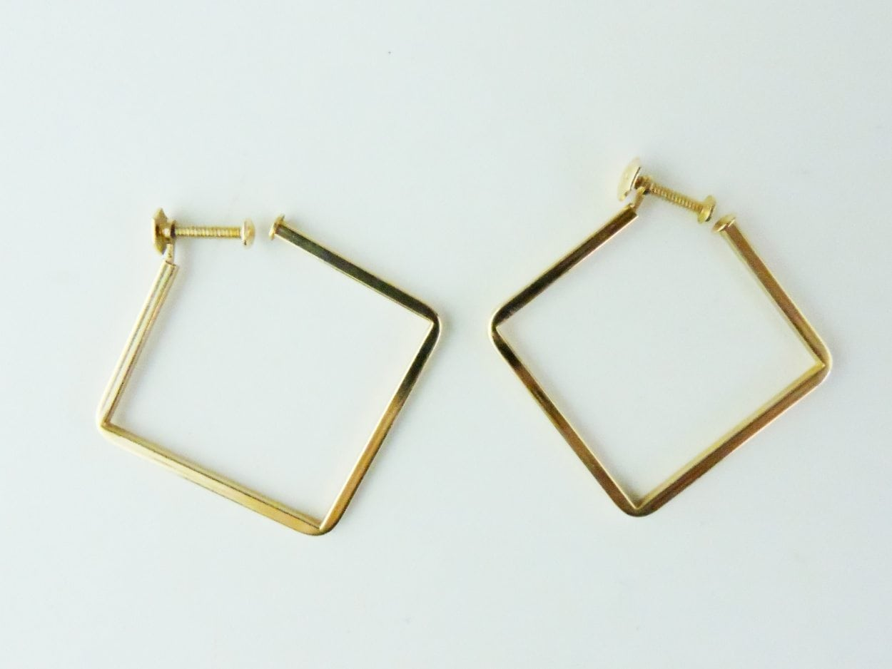 A Pair of 14 Karat Yellow Gold Square Earrings By Birks