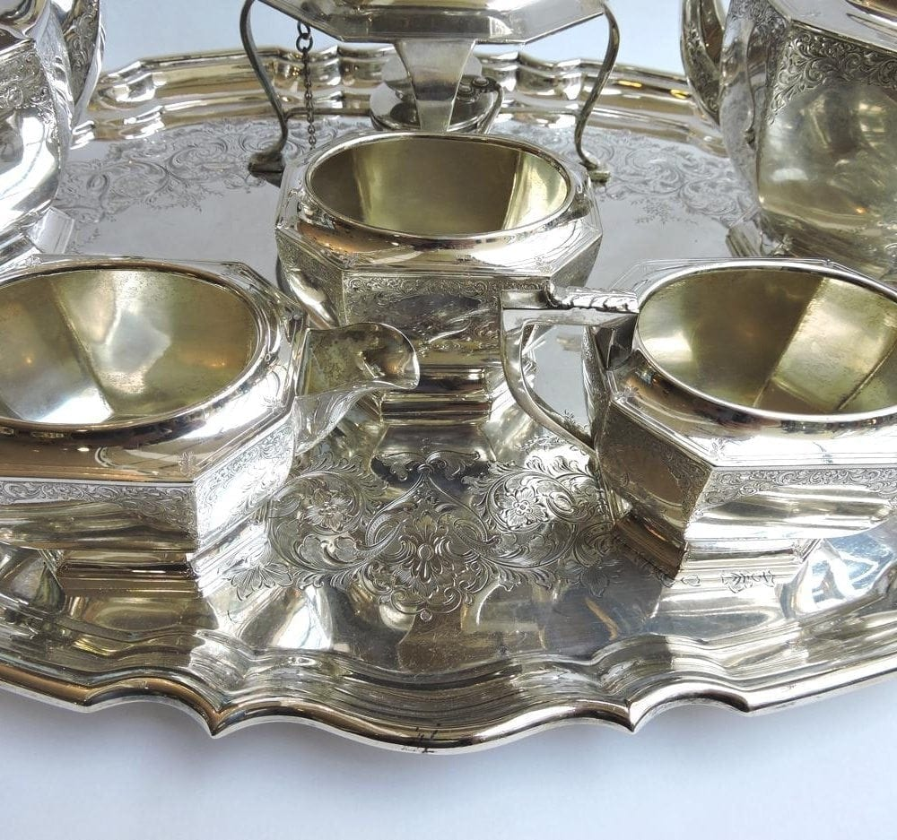 Birks Sterling 7 Piece Tea Service with Tray  dated 1928