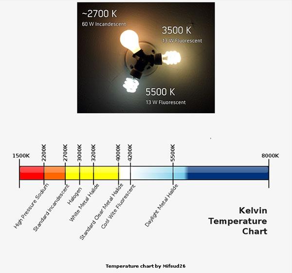 Light Bulb Kelvin Chart