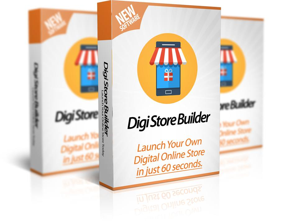 Mockup cover of Digi Store Builder on three boxes