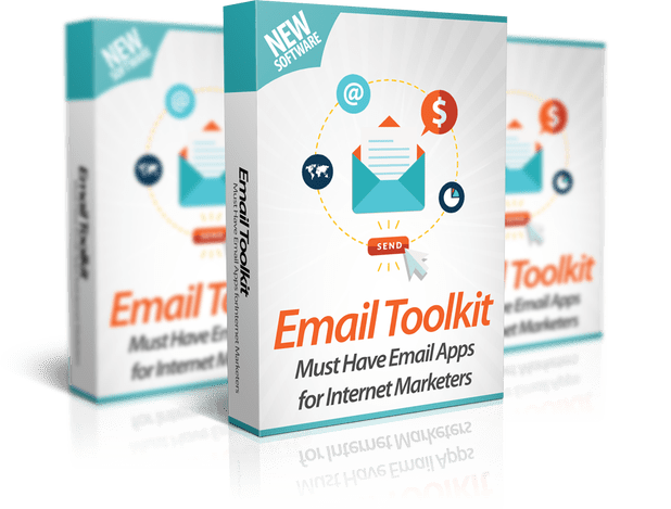 Mockup cover of Email Toolkit on three boxes