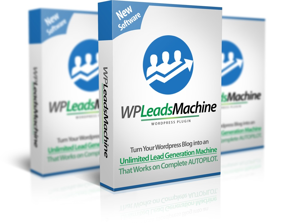 Mockup cover of WP Leads Machine on three boxes