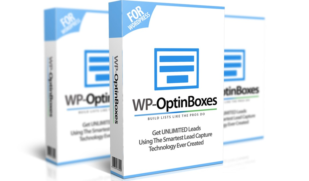 Mockup cover of WP-OptinBoxes on three boxes