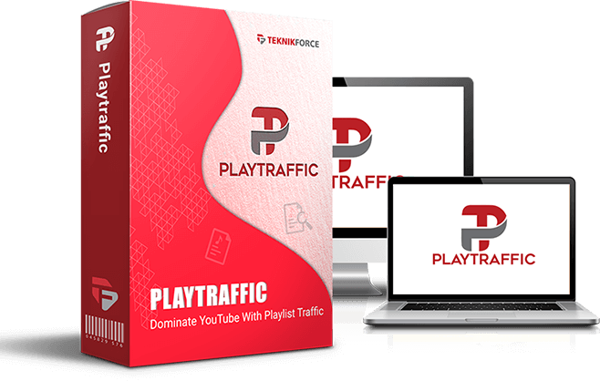 Mockup cover of PlayTraffic on a screen monitor, a laptop and a box