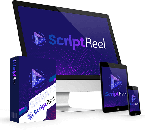 Mockup cover of Script Reel Off on a screen monitor, tablet, smartphone and a box