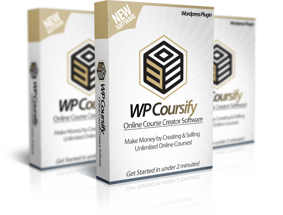 Mockup cover of WP Coursify on three boxes