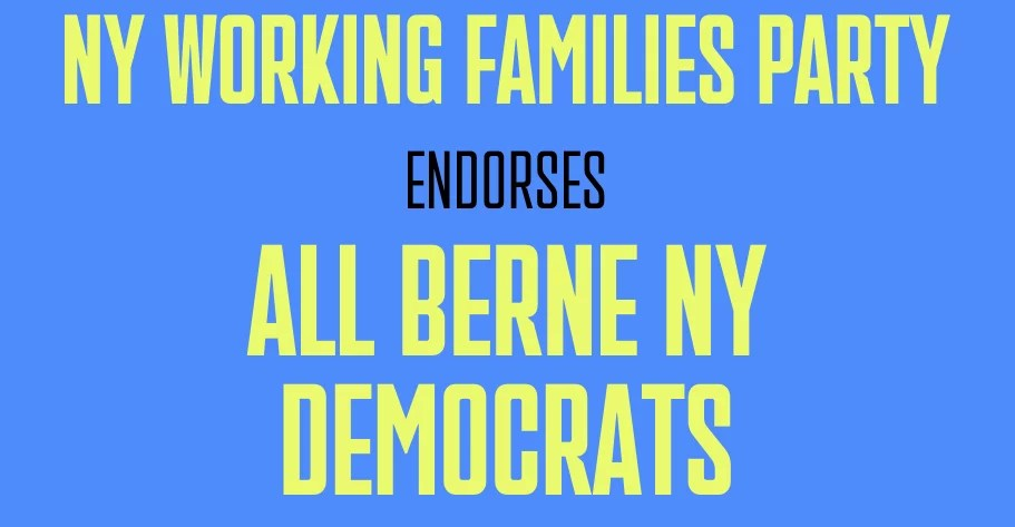 Working Families Party Endorses all Berne Democrats