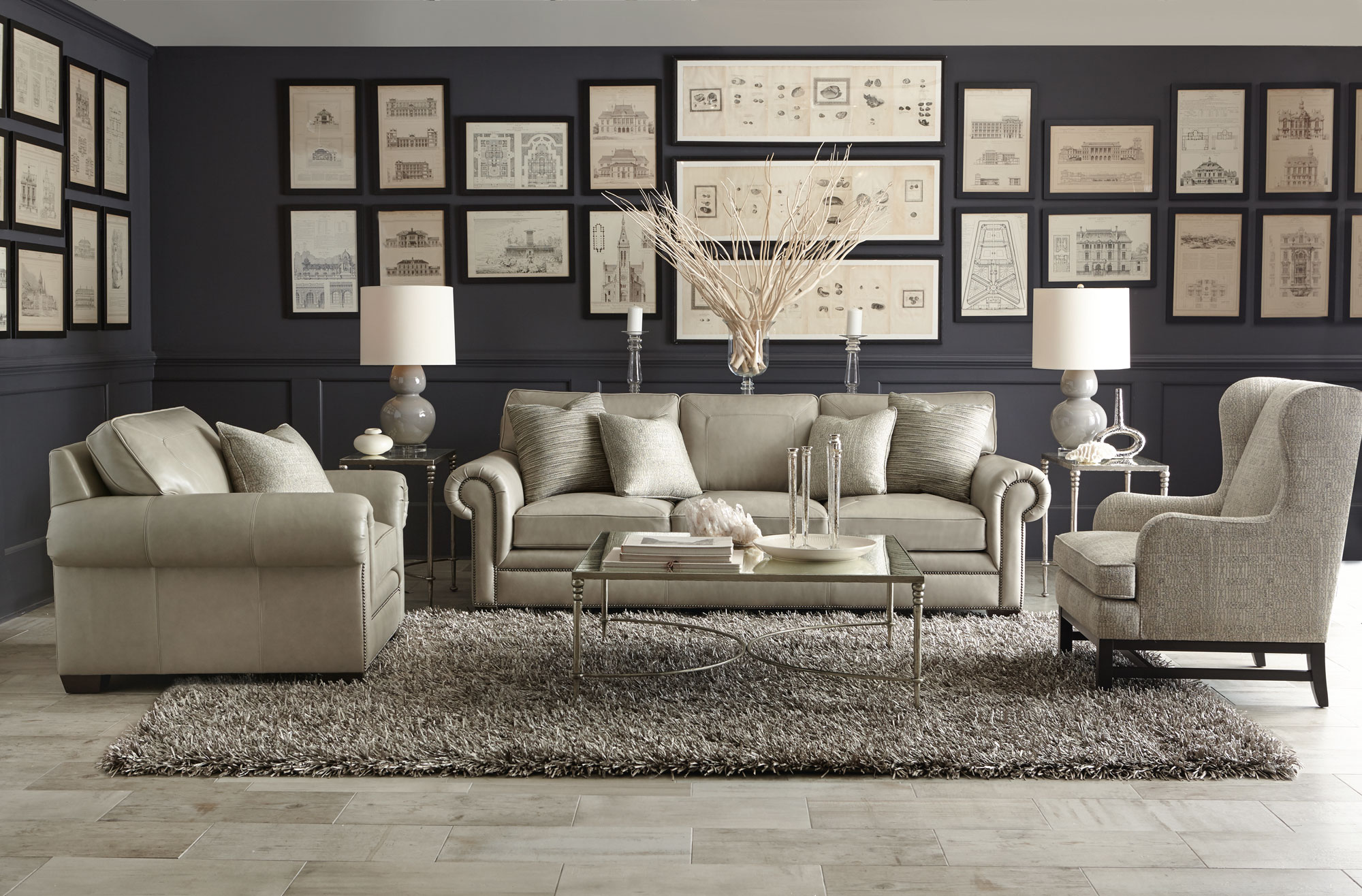 traditional english living room design blue yellow grey and white grandview orleans | bernhardt