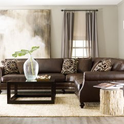 Traditional Leather Sectional Sofas Sophia Cuddler Sofa Dfs Brae With Petrified Side Table | Bernhardt