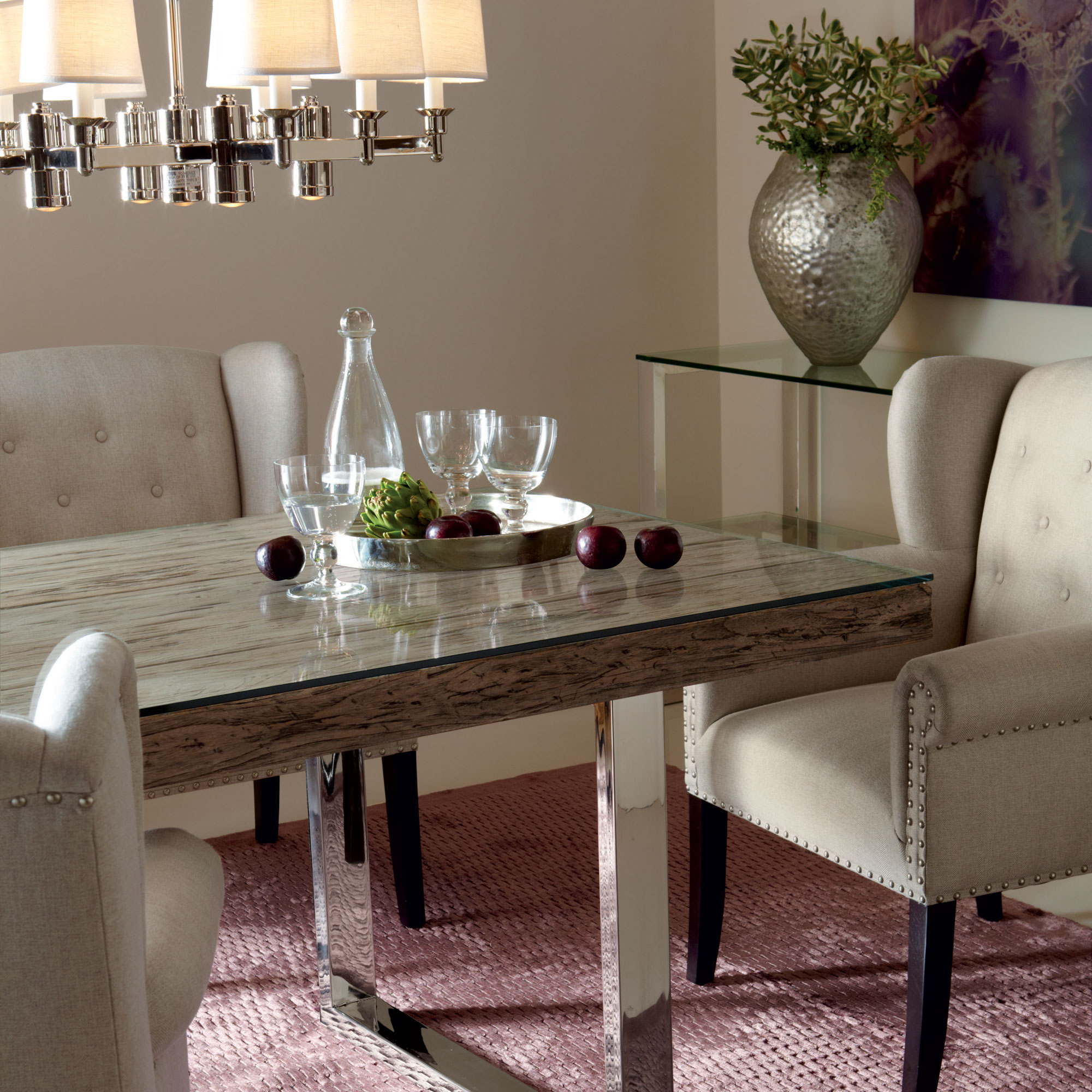glass and wood dining table chairs armless bowery henley imperial room | bernhardt