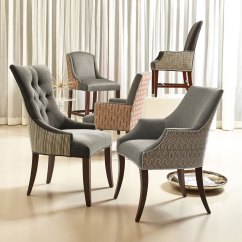 Upholstered Arm Dining Chair Dark Wooden Room Chairs Astor Deco Hadden Keeley Slope | Bernhardt