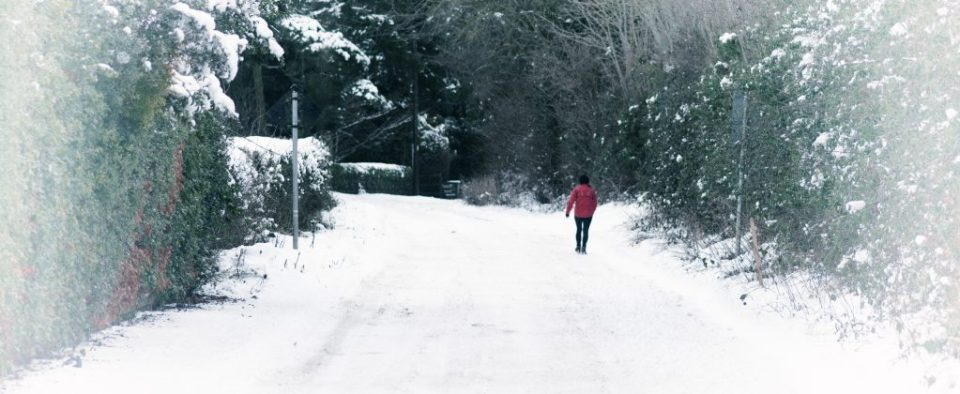 Woman on red jacket enjoying a winter walk in the snow.Photo by Bernie Delaney. Illustration for December Review blog post, Cavewoman.