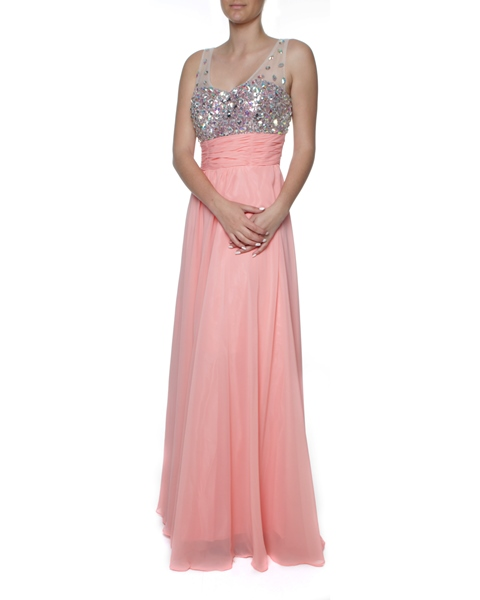 M140CRL Snow White Sparkling Chiffon Evening Gown - Coral