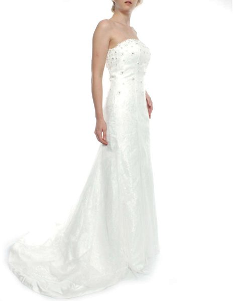 B43-003 Snow White Strapless Mermaid Daisy Sparkle Lace Wedding Gown - White