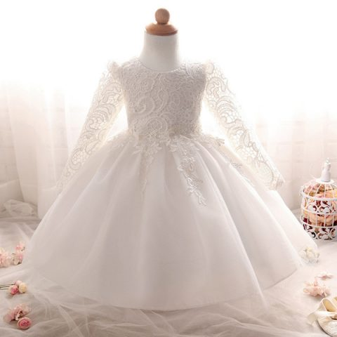 F015 Lace and Sleeves Waterfall Baby Flowergirl Dress - White