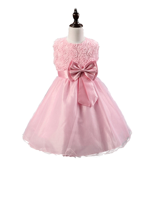 FG72 Roses Sparkle Princess Flowergirl Dress - Pink
