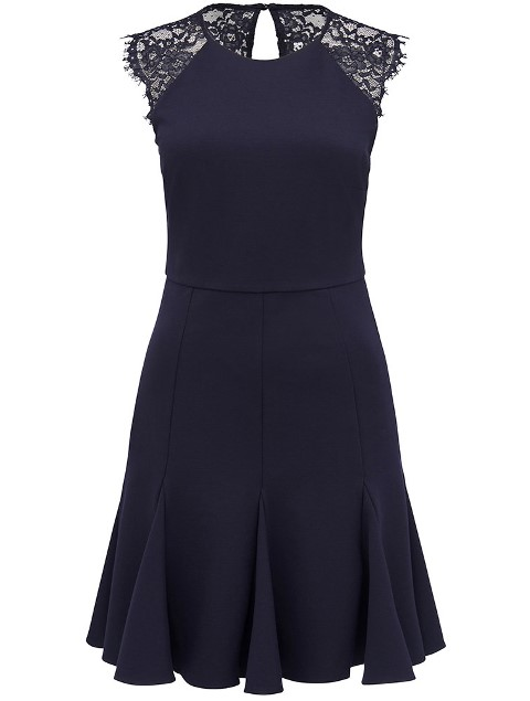 Forever New Navy Aliyah Lace Shoulders Evening Bridesmaid Dress
