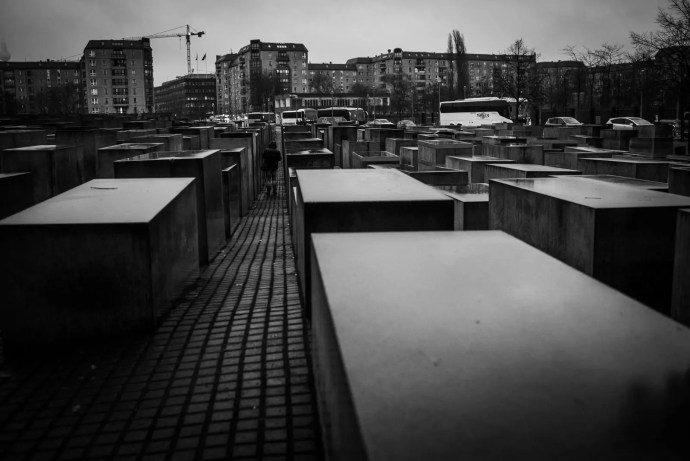 A black and white photo of the Jewish Memorial in Berlin
