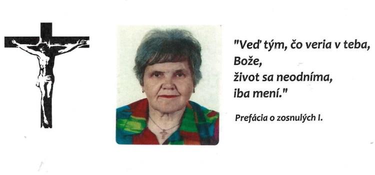 Smútočné oznámenie – Marta Čanigová, matka vdp. farára v Bernolákove