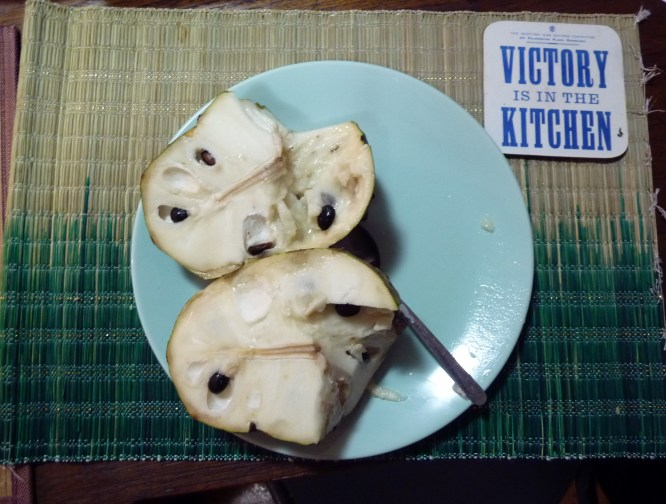 Custard apple cut open