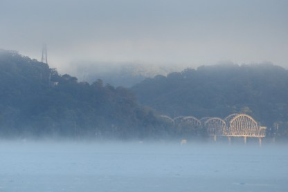 Looking back to the Hawkesbury River Railway Bridge