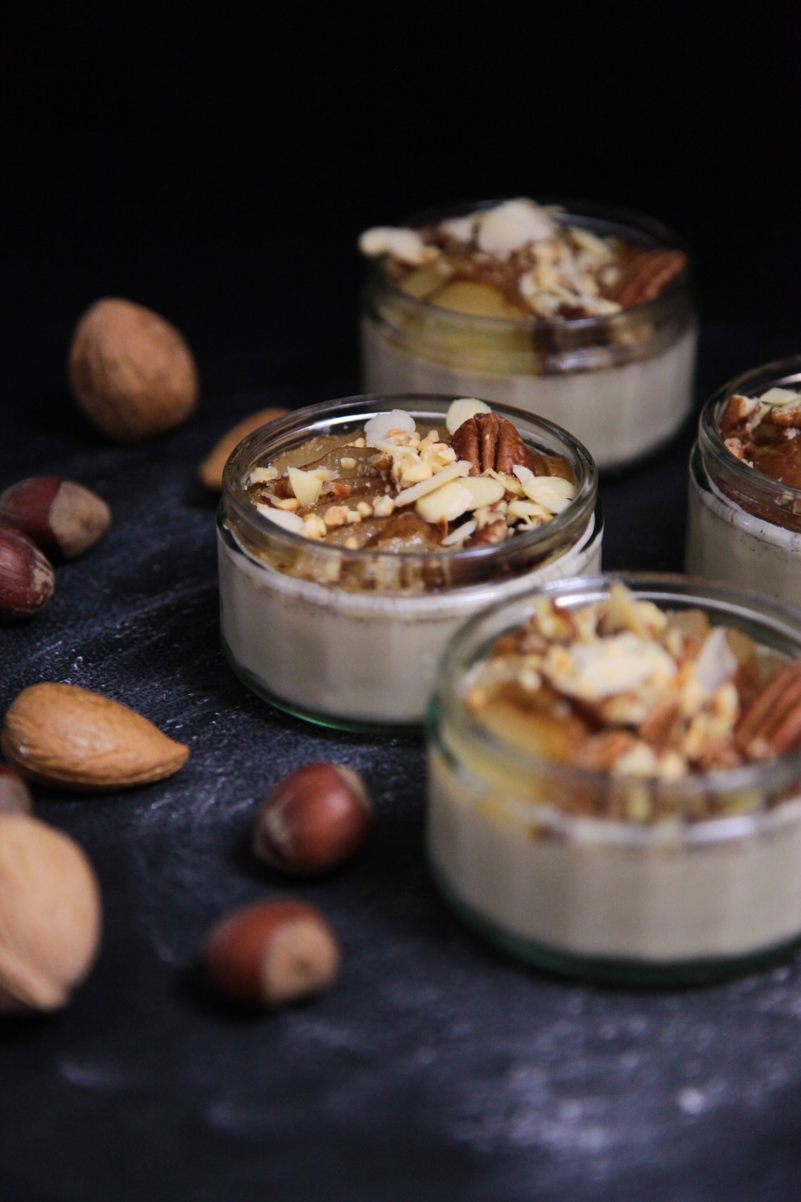 Pumpkin Spice Panna Cotta with Poached Pear and Nuts