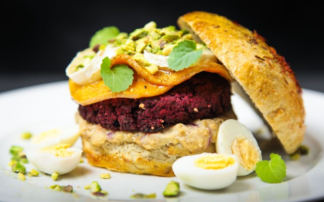 Delicious Beet Falafel Burger with Baba Ganoush and Cardamom Butternut Squash