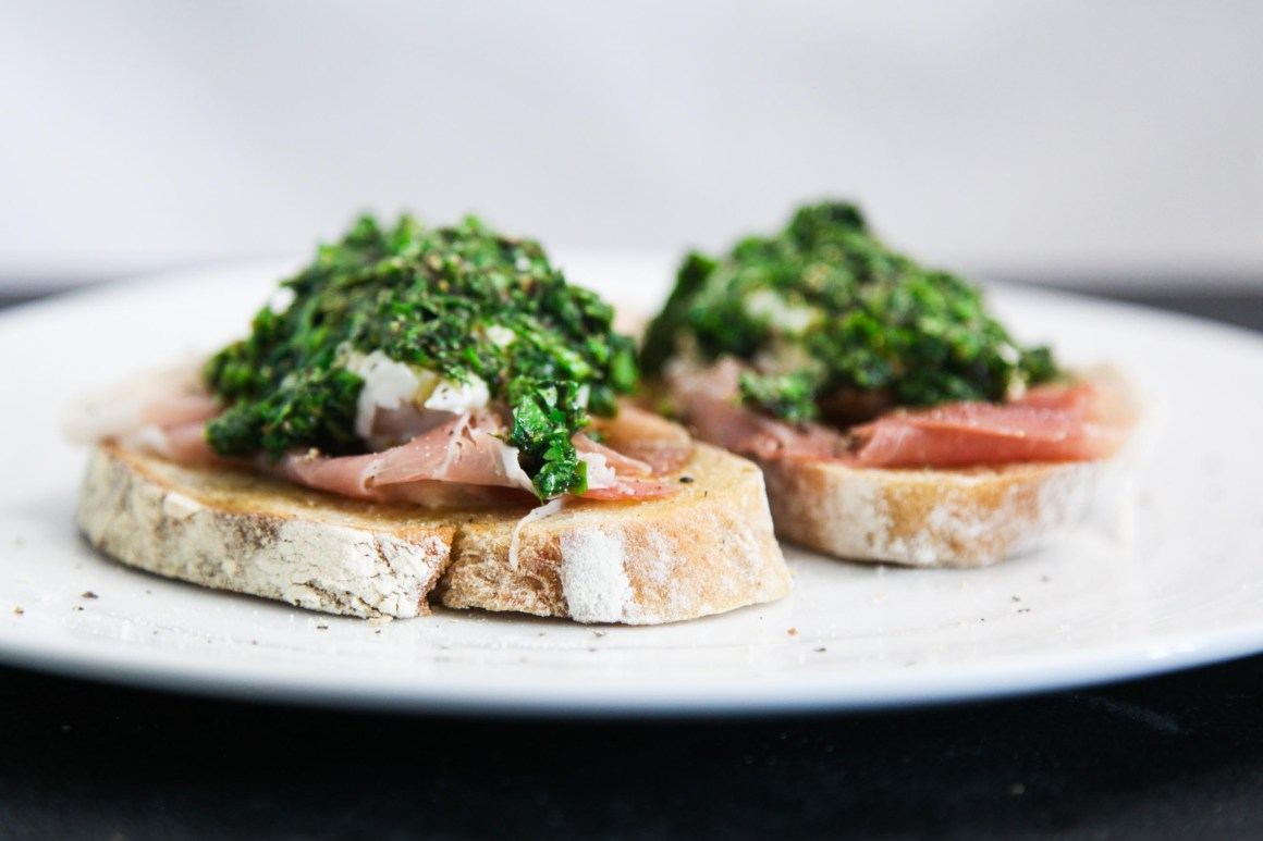 Exquisite and Simple Prosciutto Chimichurri Brunch Toast | Berries and Spice