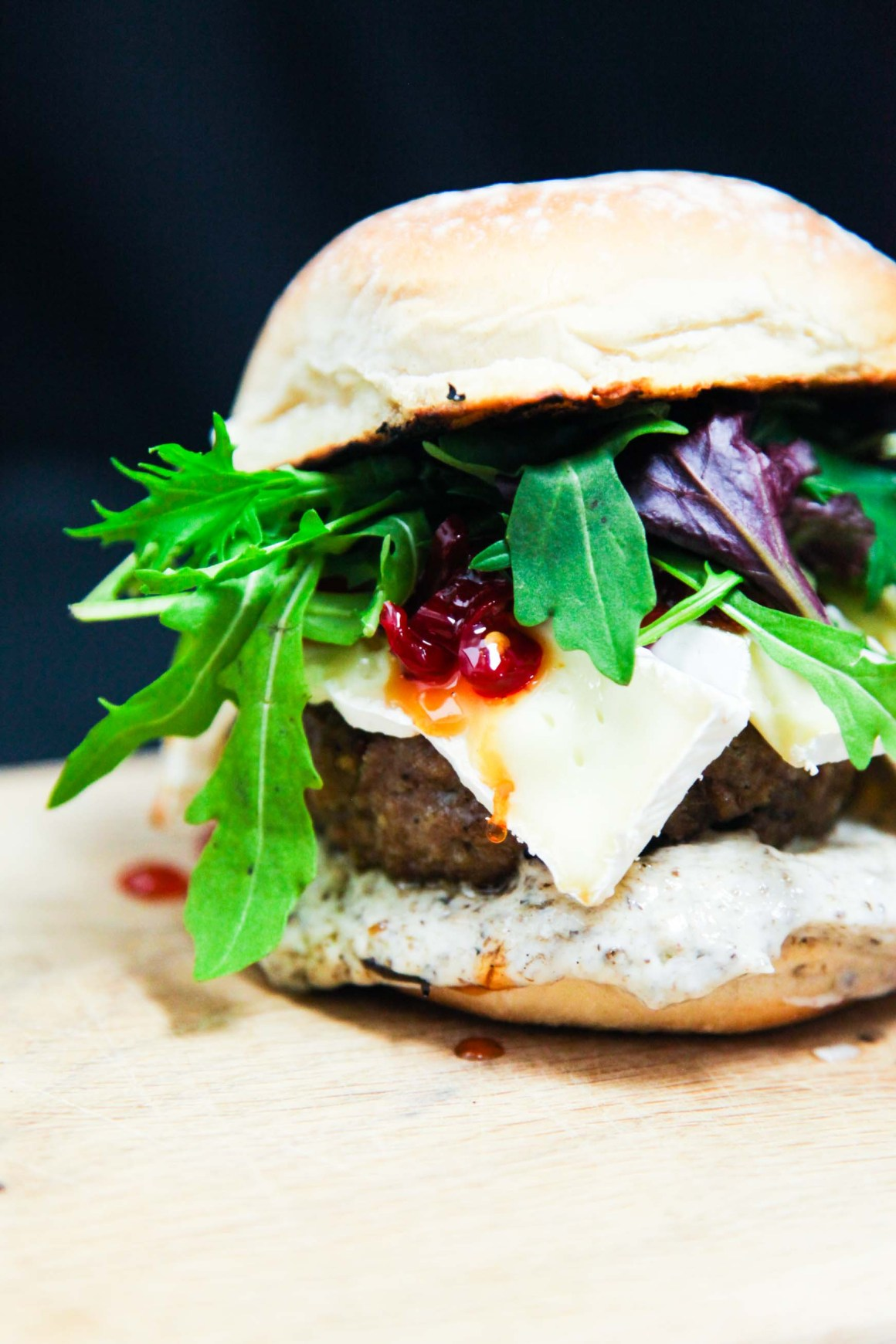 French Camembert Beef Burger with Chilli Jam and Truffle Mayo | Berries and Spice